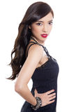 Mujer asiática joven hermosa con la piel perfecta en fondo aislado Imágenes de archivo libres de regalías
