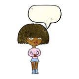 mujer astuta de la historieta con la burbuja del discurso Imagenes de archivo