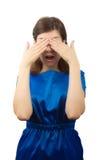 Mujer asustada Fotografía de archivo libre de regalías