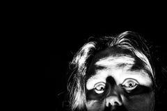 Mujer asustada Foto de archivo libre de regalías