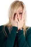 Mujer asustada Imágenes de archivo libres de regalías