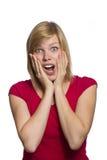 Mujer asustada aislada en blanco fotografía de archivo libre de regalías