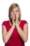 Mujer asustada aislada en blanco imágenes de archivo libres de regalías