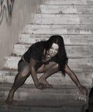Mujer asustadiza Foto de archivo