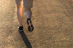 Mujer atlética que corre en el rastro del campo en luz de la salida del sol foto de archivo libre de regalías