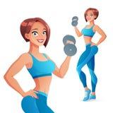 Mujer atlética que ejercita con pesa de gimnasia Ilustración aislada del vector stock de ilustración