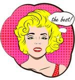 Mujer atractiva bastante rubia El mejor texto del discurso de la charla de la burbuja Arte pop retro del estilo del éxito Tarjeta Fotos de archivo libres de regalías