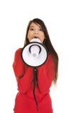 Mujer atractiva con el megáfono Imagen de archivo libre de regalías