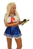Mujer atractiva con la calculadora Foto de archivo libre de regalías
