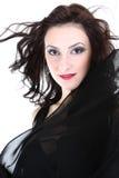 Mujer atractiva con la presentación roja de los labios Imágenes de archivo libres de regalías