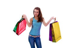 Mujer atractiva con los bolsos shoping Imagenes de archivo