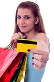 Mujer atractiva con los bolsos shoping Foto de archivo libre de regalías