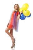 Mujer atractiva con los globos Fotos de archivo