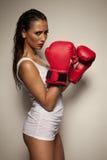 Mujer atractiva con los guantes de boxeo rojos Imagen de archivo