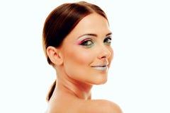 Mujer atractiva con maquillaje colorido Foto de archivo libre de regalías