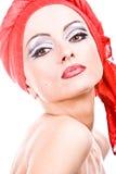 Mujer atractiva con maquillaje profesional fotos de archivo