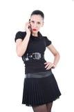 Mujer atractiva con smartphone Fotos de archivo