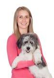 Mujer atractiva con su perro Fotografía de archivo libre de regalías
