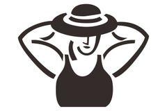 Mujer atractiva con un logotipo del símbolo del ornamento del diseño del sombrero Foto de archivo libre de regalías