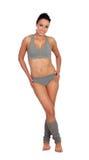 Mujer atractiva de la aptitud con la ropa interior gris Imagen de archivo libre de regalías