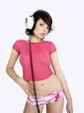 Mujer atractiva de la música Imagenes de archivo