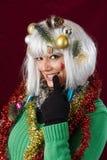 Mujer atractiva de la Navidad Imagenes de archivo