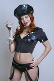 Mujer atractiva de la policía de la belleza Foto de archivo libre de regalías