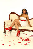 Mujer atractiva de la tarjeta del día de San Valentín Imagen de archivo libre de regalías