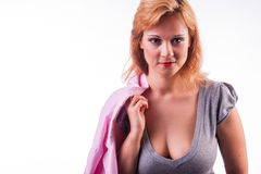 Mujer atractiva de los pechos grandes Fotografía de archivo libre de regalías
