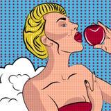 Mujer atractiva del arte pop con una manzana Fotografía de archivo
