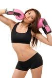 Mujer atractiva del boxeo del deporte en guantes rosados del rectángulo Imágenes de archivo libres de regalías