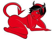 Mujer atractiva del diablo Fotos de archivo libres de regalías