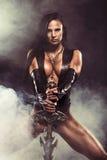 Mujer atractiva del guerrero Foto de archivo libre de regalías
