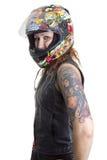 Mujer atractiva del motorista con el casco Foto de archivo libre de regalías