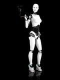 Mujer atractiva del robot que fuma un nr 2. del cigarro. Fotos de archivo