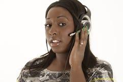 Mujer atractiva del servicio de atención al cliente imágenes de archivo libres de regalías