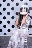 Mujer atractiva en casco Imagen de archivo libre de regalías
