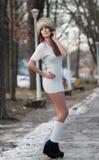 Mujer atractiva en el paisaje del invierno Imagenes de archivo