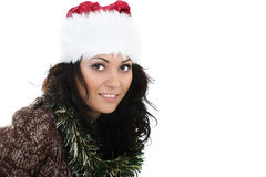 Mujer atractiva en el sombrero de santa Imagen de archivo