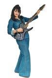 Mujer atractiva en guitarra de la explotación agrícola del dril de algodón Fotos de archivo