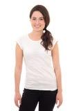 Mujer atractiva en la sonrisa blanca de la camiseta aislada en blanco Imagenes de archivo