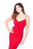 Mujer atractiva en rojo Fotografía de archivo