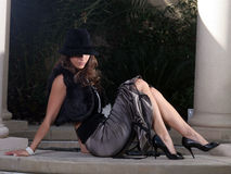Mujer atractiva en sombrero Imagen de archivo