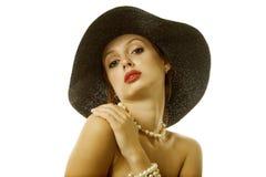 Mujer atractiva en sombrero Imagenes de archivo