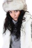 Mujer atractiva en sombrero de piel Imagenes de archivo
