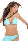 Mujer atractiva en traje de baño azul Foto de archivo