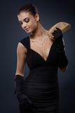 Mujer atractiva en vestido de noche foto de archivo libre de regalías