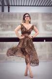 Mujer atractiva en vestido maxi del equipo del estampado de animales Imágenes de archivo libres de regalías