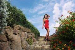 Mujer atractiva en vestido rojo Foto de archivo libre de regalías