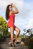 Mujer atractiva en vestido rojo Fotos de archivo
